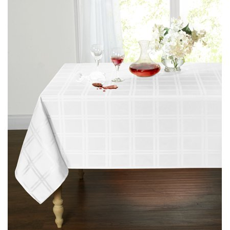 Spill Proof/Stain Resistant Plaid Tartan Fabric Tablecloth (60 in. W x 120 in. L, White)