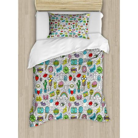 Emoji Twin Size Duvet Cover Set, Pop Art Hand Drawn Cartoon Style Eye Ice Cream Rainbow Donut Lip Heart Banana Ghost, Decorative 2 Piece Bedding Set with 1 Pillow Sham, Multicolor, by Ambesonne