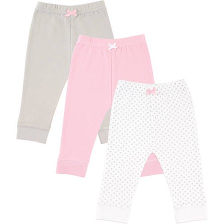 Luvable Friends Newborn Baby Girls' Tapered Ankle Pants 3-Pack, Choose Your Color &