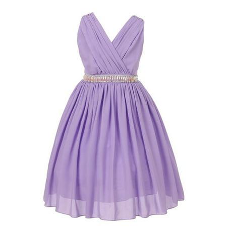 Good Girl Girls Lilac Wool Dobby Shirring Junior Bridesmaid Dress