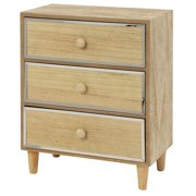 """Decmode 23617 Tall Rectangular Natural Wood Jewelry Box with 3 Drawers and Reflective Metal Trim, 10"""" x 13"""""""
