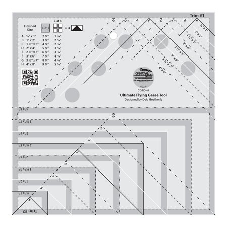 Quilt Ruler Grid - Creative Grids Ultimate Flying Geese Template and Quilt Ruler (CGRDH4)