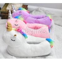 3D Unicorn Slippers Plush Soft Warm Winter Shoes Fluffy Unisex Cartoon Cute (Color may vary)