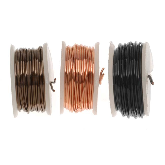 Artistic Wire, 3 Pack Craft Wire Assorted Variety Pack - Black, Copper, Ant. Brass 24 GA (15 Yd)