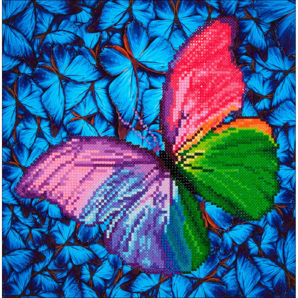"Diamond Dotz Diamond Embroidery Facet Art Kit, 15"" x 15"", Flutter By Pink"