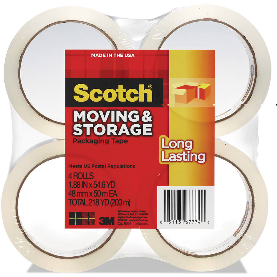 "Scotch Long Lasting Moving & Storage Packaging Tape, 1.88 in x 54.6 yds, 3"" Core, Clear, 4-Pack"