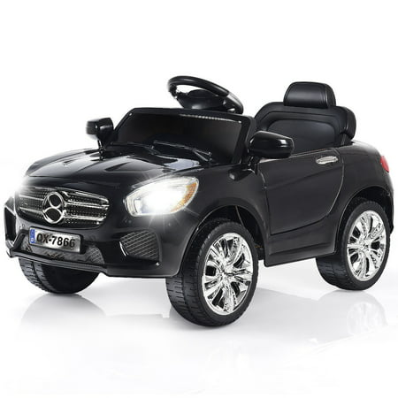 Costway 6V Kids Ride On Car RC Remote Control Battery Powered w/ LED Lights MP3 Red/Black - Ride On Toys For 4 Year Olds