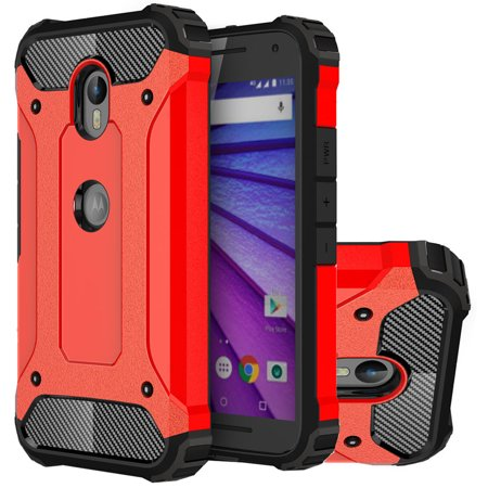 Moto G (3rd Gen) Case, Mooncase Hybrid Armor Case Soft Silicone & Hard Plastic Defender Shockproof Protective Cover Shell for Motorola Moto G (3rd Generation) Red - 3rd Degree Silicone