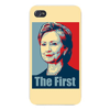 Apple iPhone Custom Case 4 4S White Plastic Snap On -  Hillary Clinton The First  Political Poster Style Design Easy access to all buttons and ports!