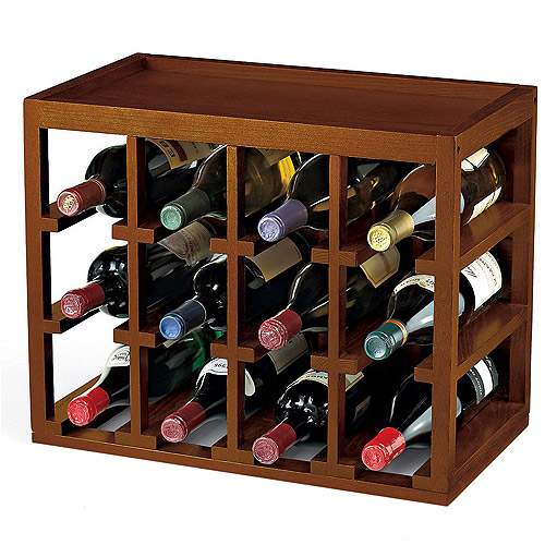 Wine Enthusiast 12-Bottle Cube Stacked Hardwood Wine Rack