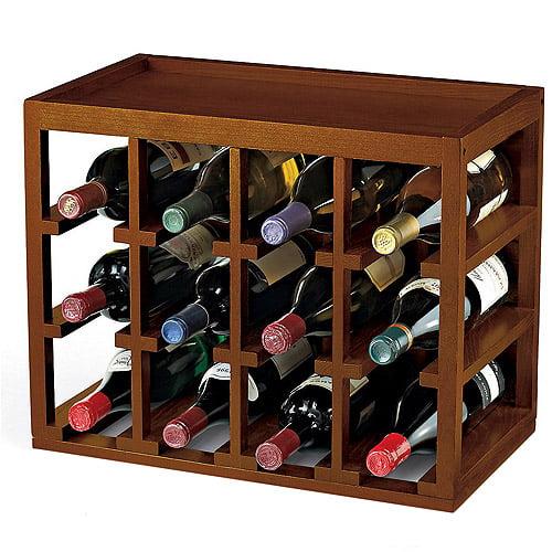 Wine Enthusiast 12-Bottle Cube Stacked Hardwood Wine Rack