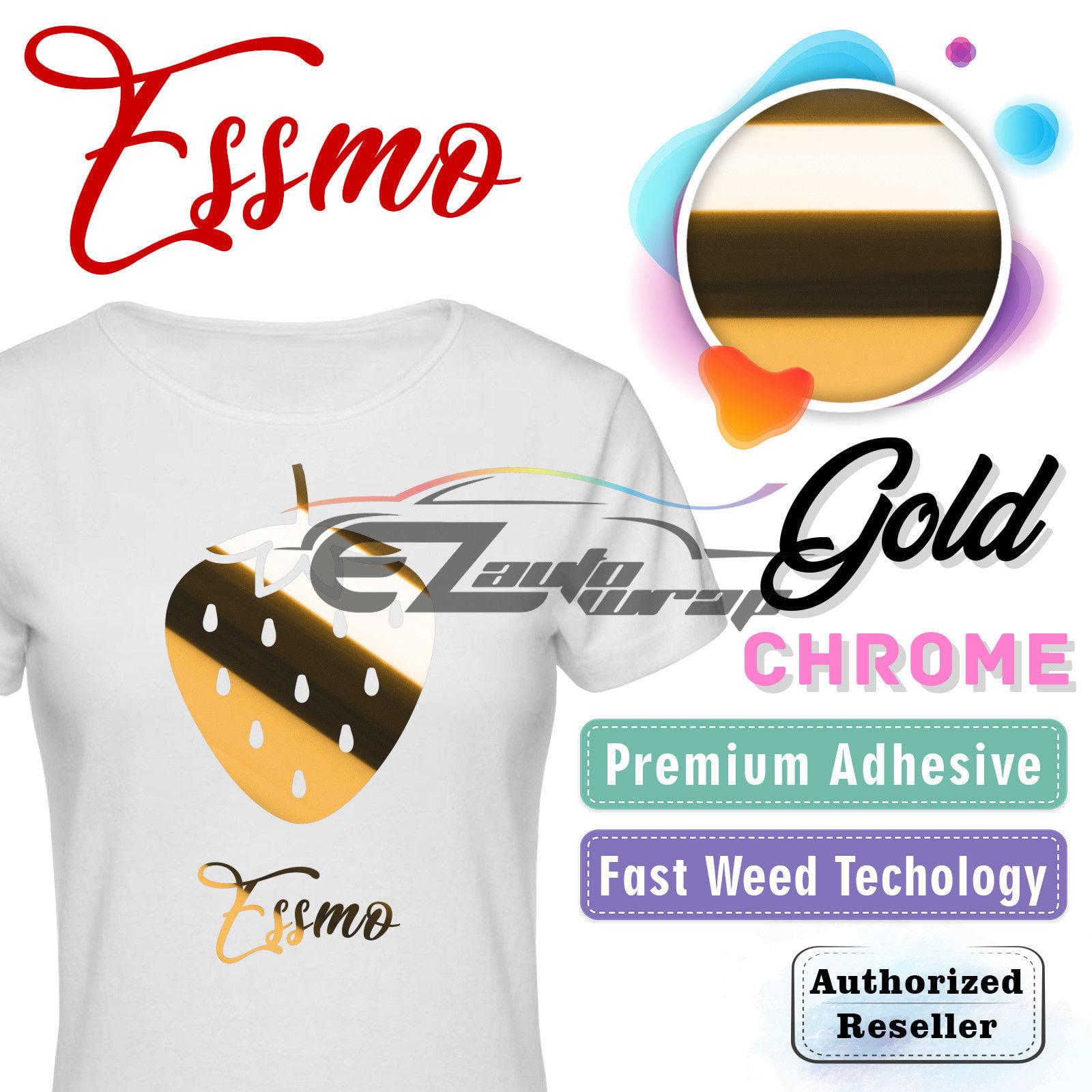 "ESSMO Gold Chrome Heat Transfer Vinyl HTV Sheet T-Shirt 20"" Wide Iron On Heat Press 20""x12"""