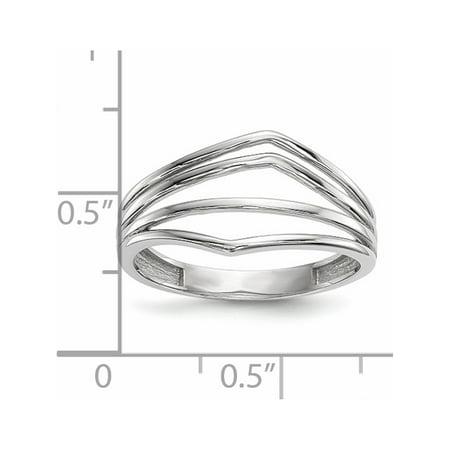 14k White Gold White Polished 4-Bar Ring - image 1 of 4