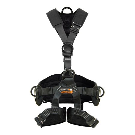Fusion Climb Tac Rescue Tactical Full Body EVA Padded Heavy Duty Adjustable Zipline Harness 23kN S Black