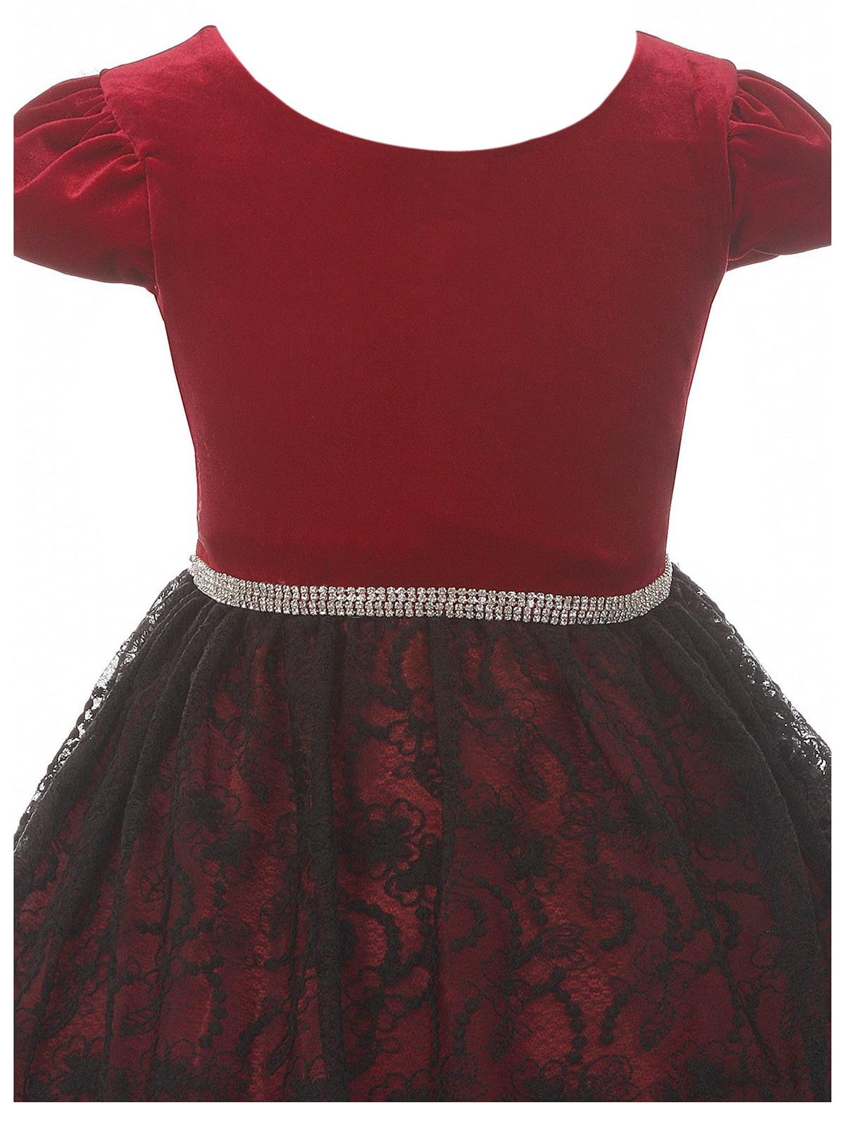 ef57af289e8 Big Girls  Velvet Cap Sleeve Lace Party Christmas Holiday Flower Girl Dress  Eggplant Size 10 (K44D5)