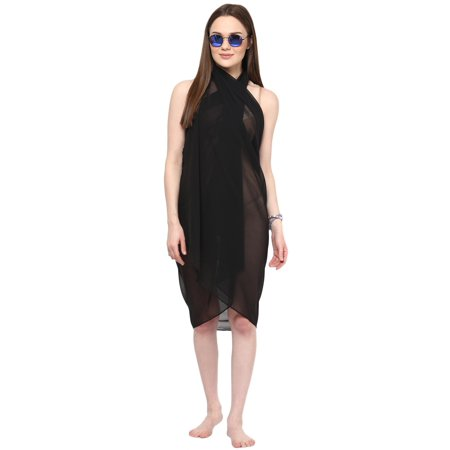 3ad2e5c359 alvish - Sarong Women Solid Plain Beach Swimsuit Wrap One Size Sheer Cover  Up Black - Walmart.com