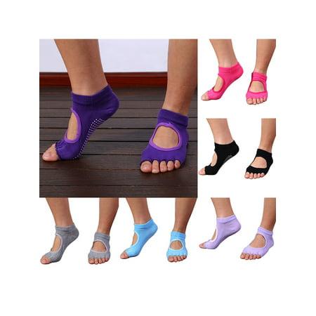 Womens Yoga Socks, Coxeer 6 Pair Multicolor Non Slip Yoga Sock Toeless Grip Anti-slip Pilates Socks Ballet Dance Socks