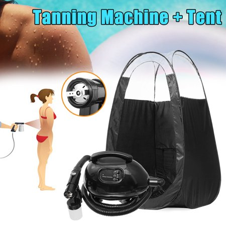Black Curtain Tent & Sunless Airbrush HVLP Spray Gun Tanning Salon Beauty Spray Tan Machine