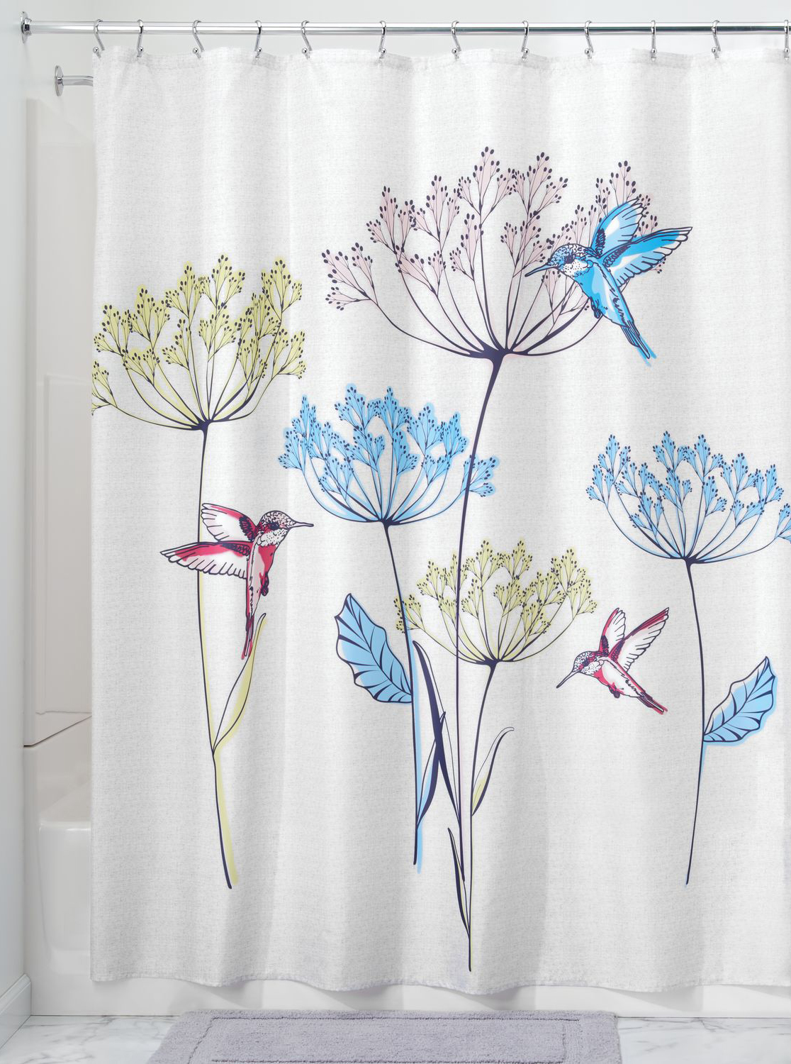 """Colorful Design Hummingbird and Floral Shower Curtain Liner Polyester Fabric 72/"""""""