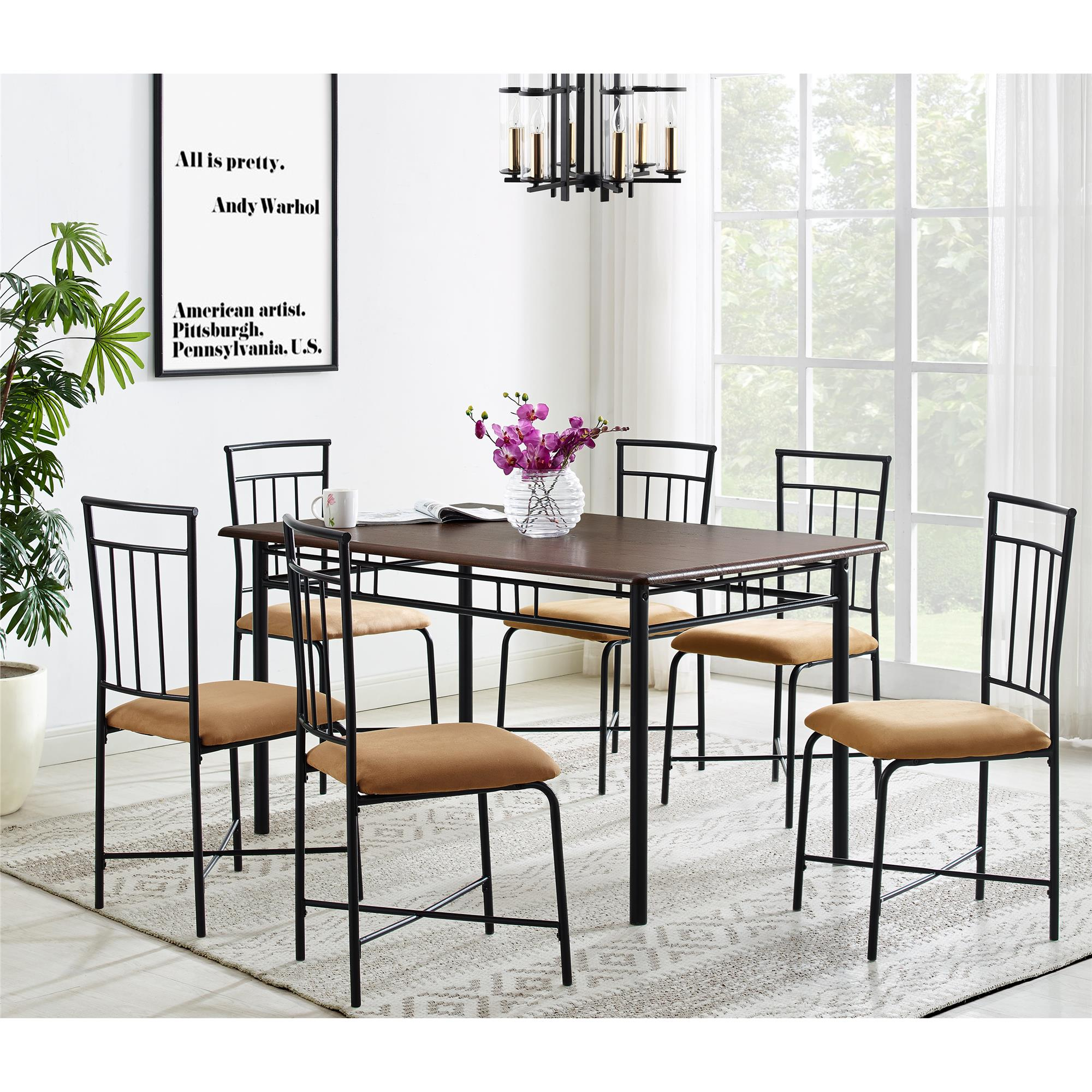 Mainstays 7 Piece Wood And Metal Dining Set   Walmart.com