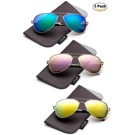 Brown Gray Lens Sunglasses (Newbee Fashion -Comfortble High Quality Durable Fashion Metal Aviator Sunglasses for Girls & Boys Polular Flash Mirror Lens UV Protection with Carrying Pouch (4-16 Years))