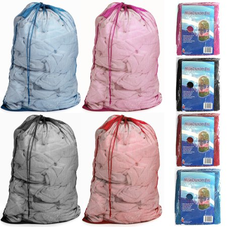 4 Pc Extra Large Mesh Laundry Bags Drawstring Handle 36 x 24 Lingerie Delicates ()