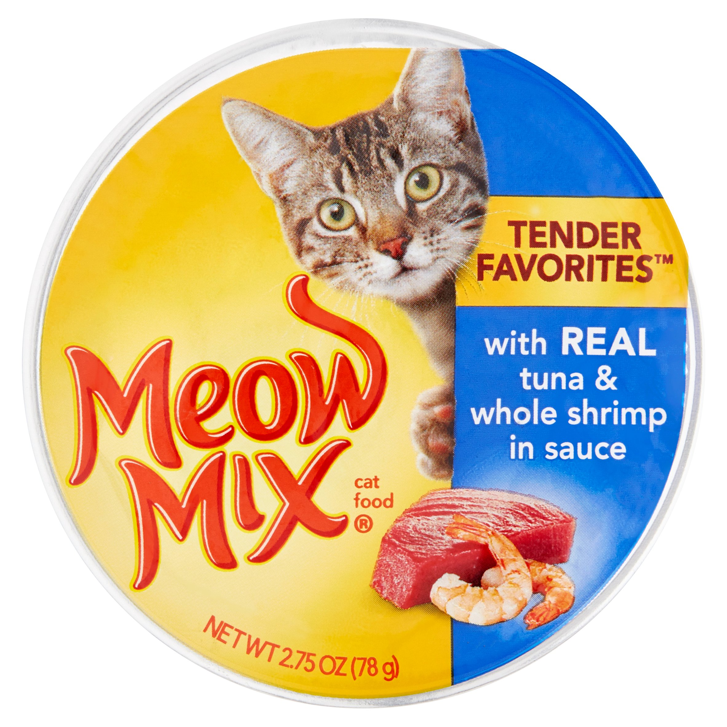 Meow Mix Tender Favorites with Real Tuna & Whole Shrimp in Sauce Cat Food, 2.75 oz