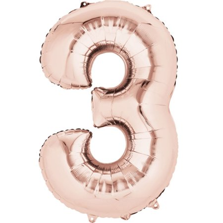 Giant Rose Gold Number 3 Foil Balloon 34