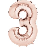 """Giant Rose Gold Number 3 Foil Balloon 34"""""""