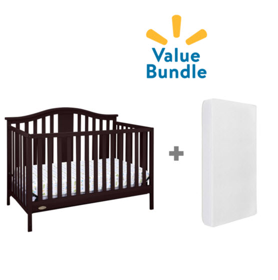 Graco Solano 4 in 1 Convertible Crib + Foam Mattress Espresso