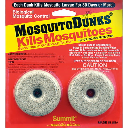 Mosquito Dunks Biological mosquito control - kills mosquitos before they are old enough to bite - 2 Pack