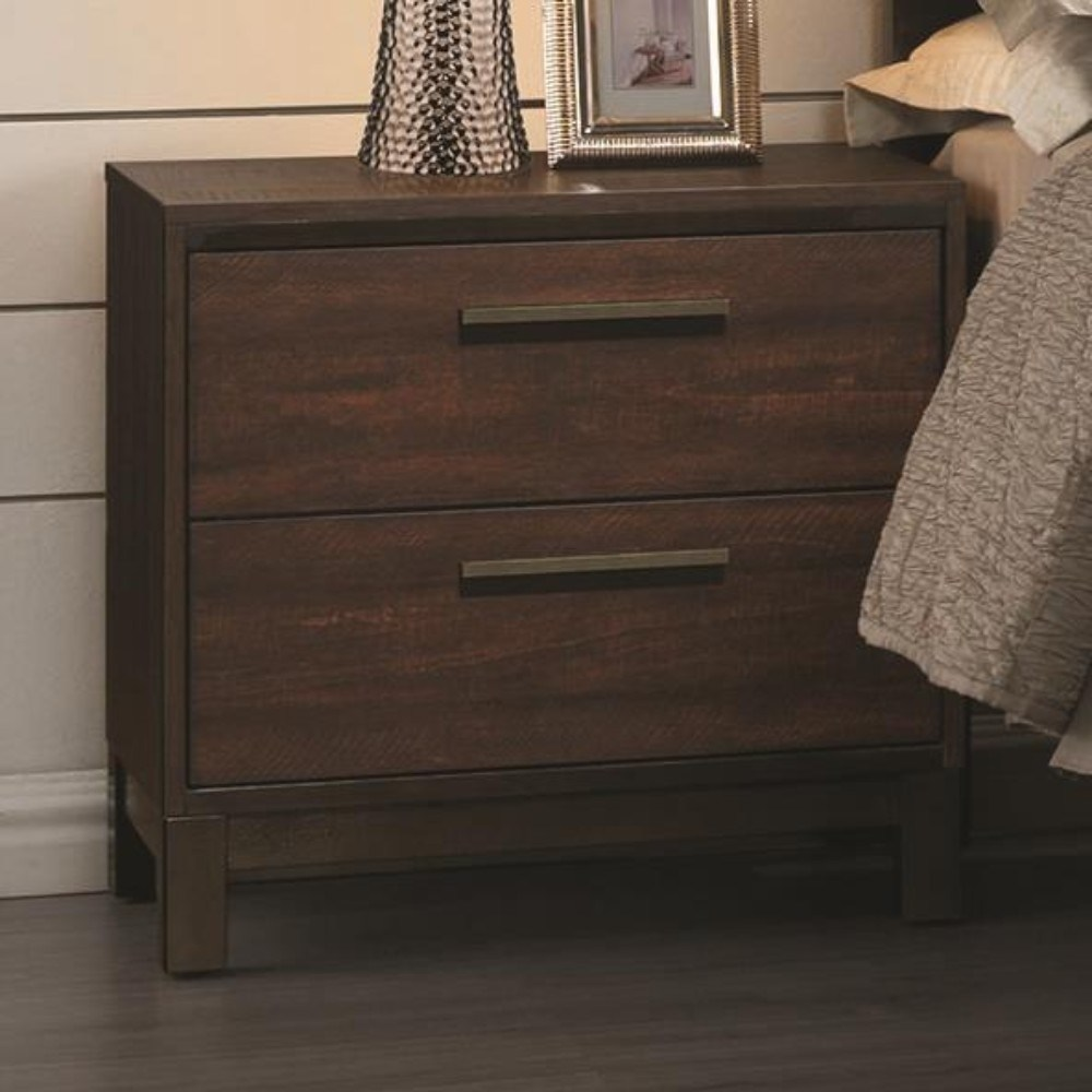 Benzara Wooden Nightstand with Two Drawers and Metal Bar Handles, Brown