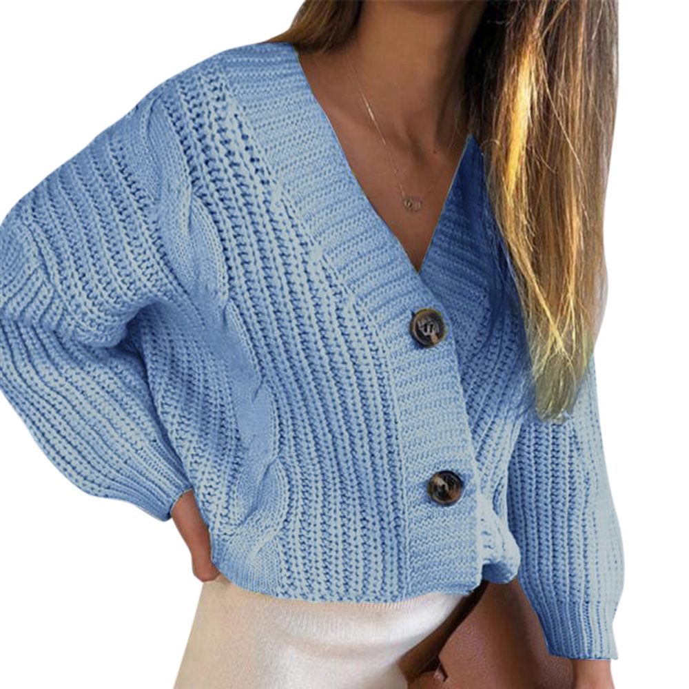 Ladies Knitted Cardigan Open Front Long Sleeves Loose Drape Button Outwear Coat