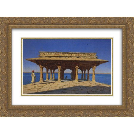 Vasily Vereshchagin 2x Matted 24x20 Gold Ornate Framed Art Print 'Evening on the lake. One of the pavilions on the marble promenade in Radzhnagar (Principality of (Promenade Mall Shops)