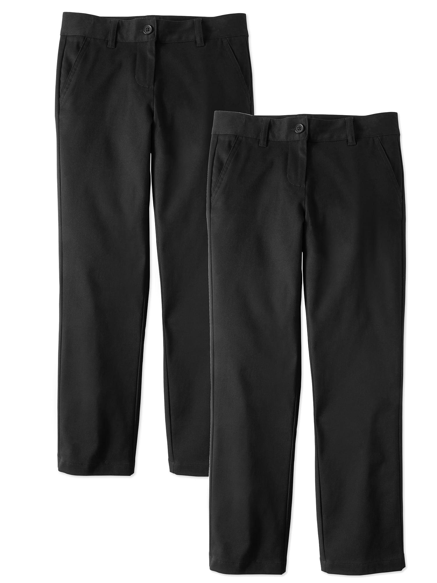 Wonder Nation Girls School Uniform Stretch Twill Straight Fit Pants, 2-Pack Value Bundle