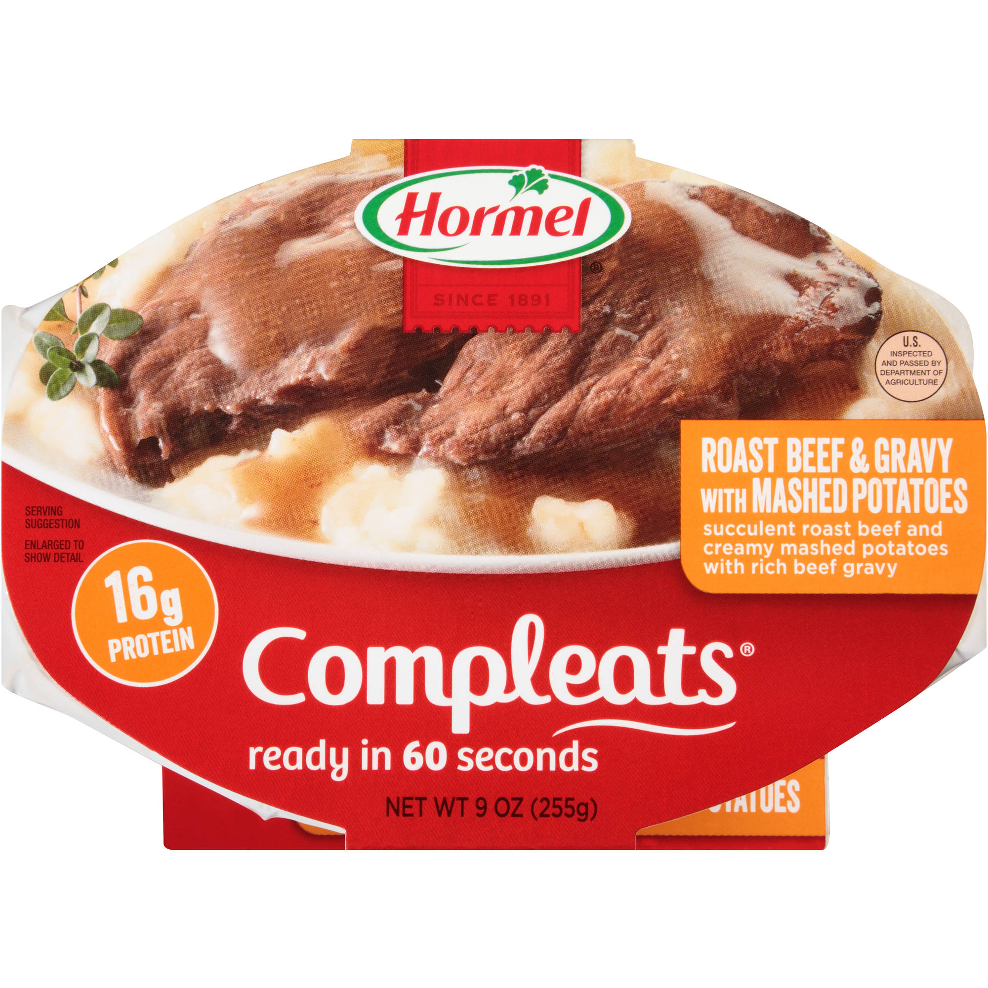 Hormel Compleats Roast Beef & Gravy with Mashed Potatoes, 9 oz