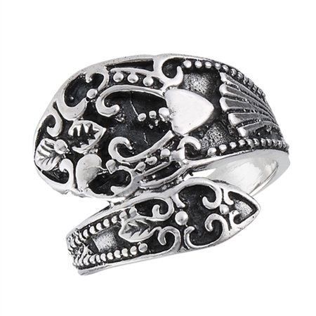 Oxidized Vintage Filigree Heart Spoon Ring Sterling Silver Thumb Band Size 8