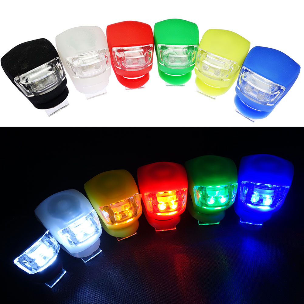 InnoLife- 6Pcs Mixed Color Set Silicone Waterproof Super Frog LED Bicycle bike Head Front Rear Light (6 mixed colors)