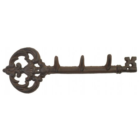 "Cast Iron Wall Hook Rack - Antique Skeleton Key Style - 3 Hooks - 11.5"" Long"
