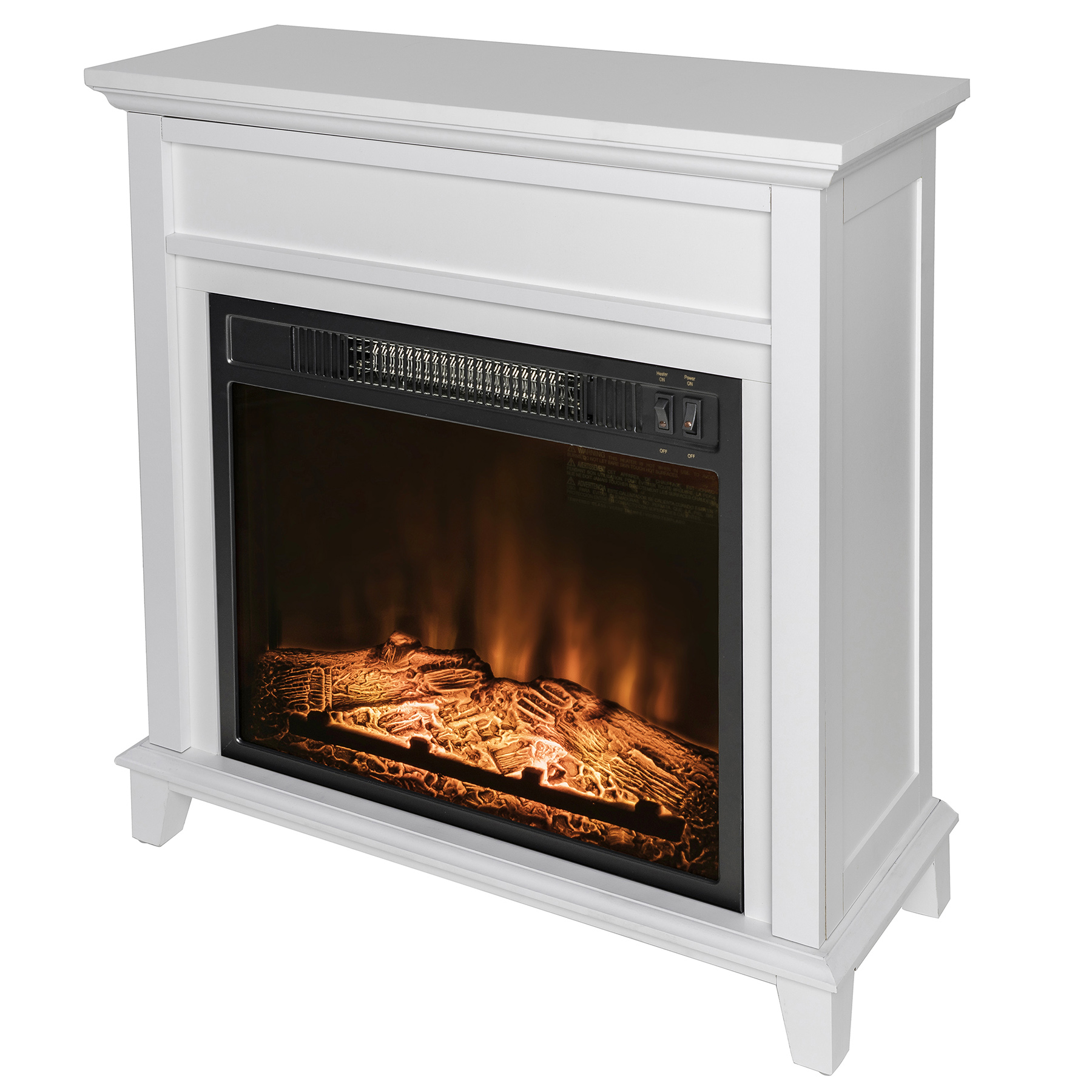 "AKDY FP0094 27"" Electric Fireplace Freestanding White Wooden Mantel Firebox Heater 3D Flame w/ Logs"