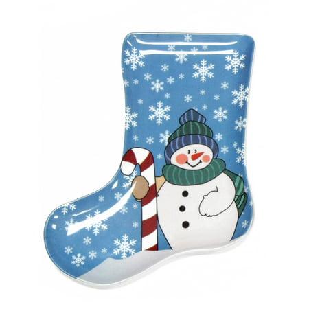 Snowman Round Platter (Christmas Snowman & Snowflakes Stocking Shape 9.5