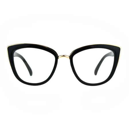 Womens Goth Cat Eye Clear Lens Luxury Diva Glasses (Winged Cat Eye Glasses)
