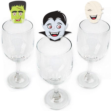 Halloween Monsters - Shaped Skeleton, Mummy, Vampire, Frankenstein & Witch Halloween Party Wine Glass Markers -Set of 24