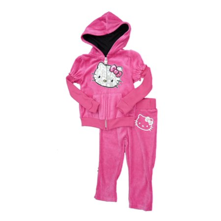 Hello Kitty Birthday Outfit (Hello Kitty Toddler Girls 2 PC Pink Velour Hoodie Jacket & Pants)