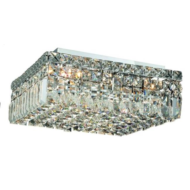 PWG Lighting - Lighting By Pecaso 1728F14C-RC Chantal Heirloom Handcut Crystal Flush Mount, Chrome