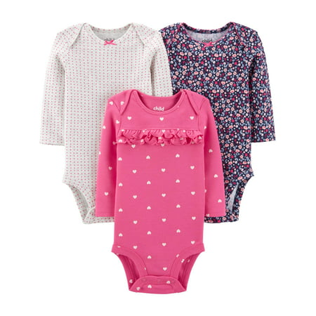 Child Of Mine By Carter's Long Sleeve Bodysuits, 3pk (Baby Girls) Carters Girls Sleeper