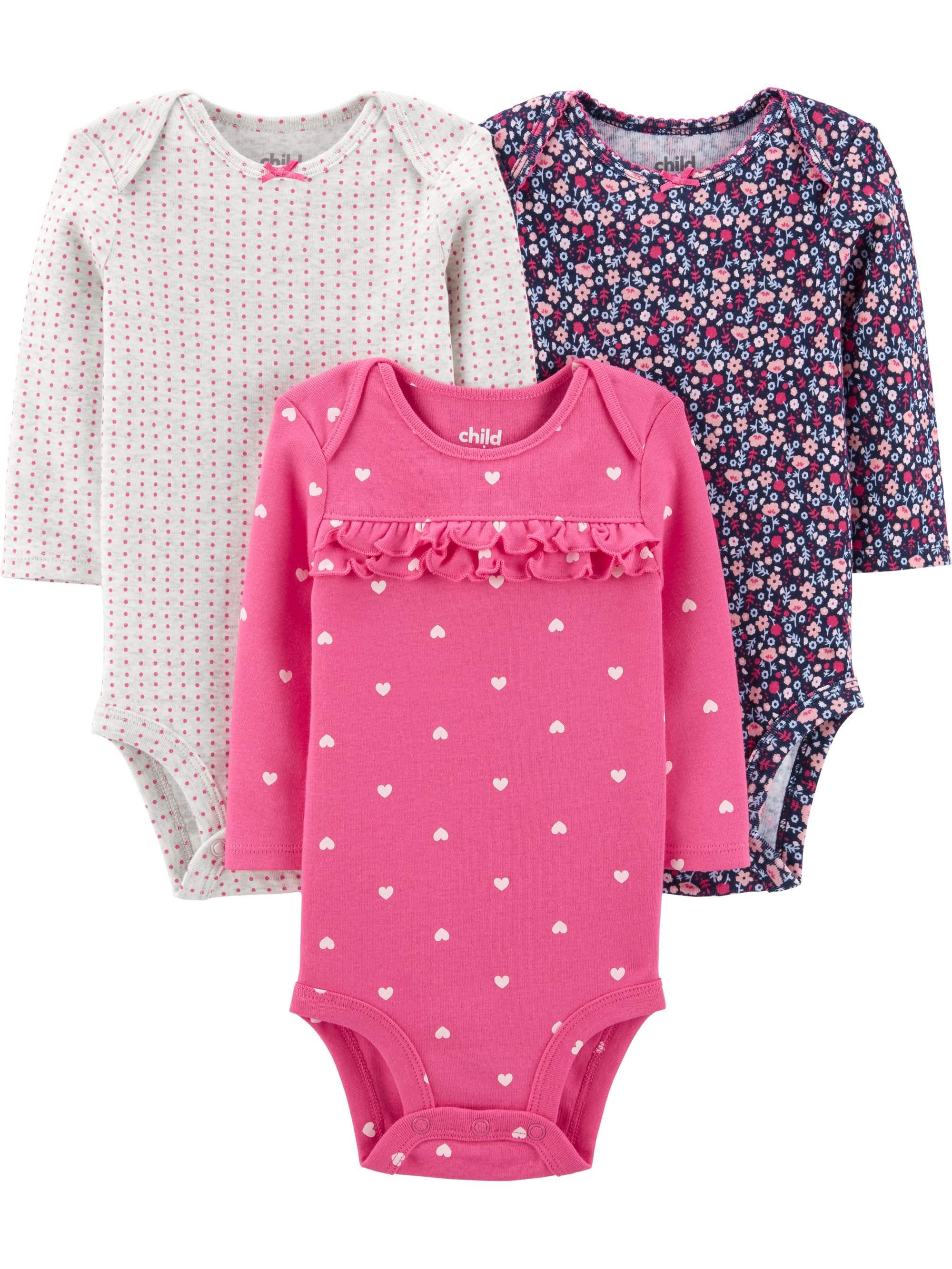Long Sleeve Bodysuit, 3 pack (Baby Girls)