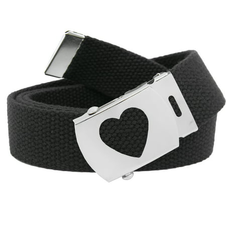 Women's Silver Slider Heart Belt Buckle with Canvas Web Belt Small Black