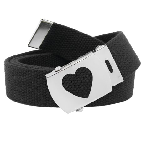Girls School Uniform Silver Slider Heart Belt Buckle with Canvas Web Belt Small Black ()