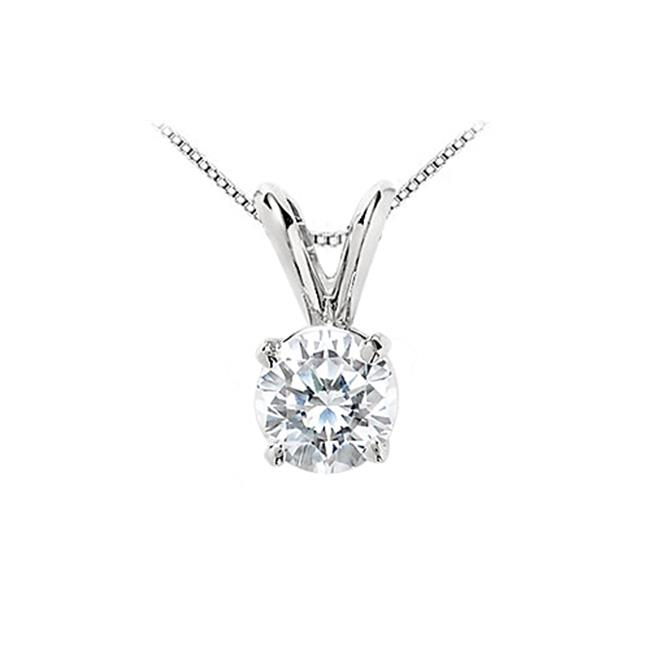 Fine Jewelry Vault UBPD14WH4RD100CZ 1 Carat Cubic Zirconia Solitaire Pendant in 14K White Gold Round Prong Set Quality